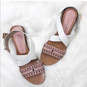 10 Crosby Derek Lam Pink Leather Laser Cut Sandals